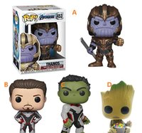 Wholesale new toy iron man for sale - 4 Style Funko pop Avengers Endgame Figure Doll toys New kids Avengers Cartoon Thanos Iron man Hulk Groot figure Toy Material PVC