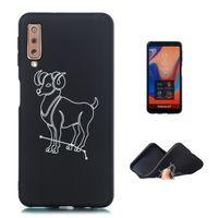 cep telefonu ipek kılıfı toptan satış-Oniki Takımyıldızları Cep Telefonu Kılıfı Yumuşak TPU Siyah Kapak Samsung Galaxy için A750 Ipek Creen Beyaz Desen Enerjik Koç (A750)