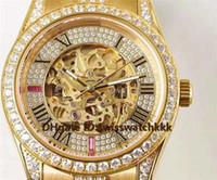 diamante suizo 18k al por mayor-2019 Venta caliente Hombres Relojes de pulsera Suizo Esqueleto automático Dial Cristal de zafiro Diamante completo 18K Oro amarillo Caja sólida Volver Reloj para hombre