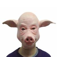 забавная животная маска для лица оптовых-Латексная вечеринка Halloween Cosplay Masquerade Реалистичные маски Анфас животных Смешная свинья маска для головы реалистичная маска декора