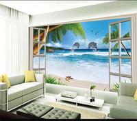 Wholesale windows live tv for sale - custom size d photo wallpaper living room mural Sea Window Beach Dolphin d picture sofa TV backgrop wallpaper mural non woven sticker