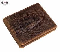подлинный кожаный крокодил мужской кошелек оптовых-Мужской короткий кошелек .Мужские RFID преграждая винтажный итальянский из натуральной кожи тонкий двойные кошелек с крокодилом
