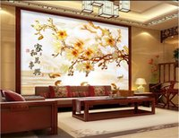Wholesale chinese fish pictures resale online - custom size d photo wallpaper living room mural magnolia and nine fish d Chinese picture sofa TV backdrop wallpaper non woven wall sticker