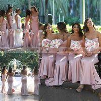 ingrosso scelta sposa-2019 Semplice Dusky Pink Satin Mermaid Abiti da damigella d'onore Zipper Torna Maid Of Bride Abiti economici Wedding Guest Dress Formal Party Gowns Prom