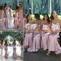 Wholesale cheap silver wedding dresses for sale - 2019 Simple Dusky Pink Satin Mermaid Bridesmaid Dresses Zipper Back Maid Of Bride Gowns Cheap Wedding Guest Dress Formal Party Gowns Prom