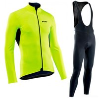 Wholesale black long sleeve cycling jerseys resale online - NW pro team new Cycling Jersey Men Long Sleeve set Ropa Ciclismo hombre Winter Thermal Fleece MTB bike Cycling Clothing