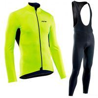 ingrosso bici lungo-NW 2018 pro team new Cycling Jersey Uomo manica lunga set Ropa Ciclismo hombre Inverno Thermal Fleece MTB bike Abbigliamento da ciclismo