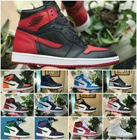ördek basketbol ayakkabıları toptan satış-2019 Yeni Orta OG 1 Top 3 Erkekler Basketbol Ayakkabıları 1 s Ev Yasağı Getirdi Chicago Kraliyet Mavi Paramparça Backboard Mandarin Duck Sneakers
