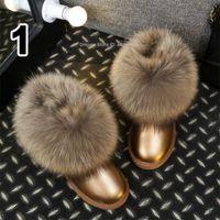 ingrosso stivali di pelliccia-stivali di pelle inverno stile australiano tendone sfocati donne pelliccia di volpe stivali da neve di moda pompom stivaletti per le donne scarpe di pelliccia di procione soffici