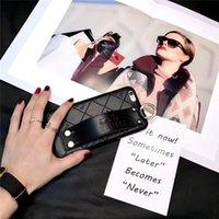 handgelenkriemen für handys großhandel-Lederner Handy-Fall für Iphone X Xs maximales XR 8/7/6 plus rückseitige Abdeckungs-Schlag-Verkleinerungs-Handgelenk-Bügel-Telefon-Fall Schmutz-beständig