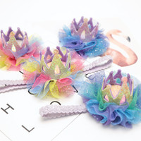 Wholesale crown clip hair baby resale online - 4Styles crown baby headbands lace glisten girls hair clips headband mesh kids birthday kids Barrettes baby party clips favor FFA2286