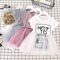 Wholesale korean style casual clothing online - Korean design baby girls mesh skirts Letters printed cute girl tutu dress white grey pink children summer clothes