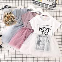 projetos bonitos do vestido das meninas venda por atacado-Saias de malha coreano meninas do bebê Letras impresso bonito menina tutu vestido branco cinza rosa crianças roupas de verão