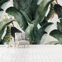 Wholesale nostalgic wallpaper resale online - Dropship Custom D Photo Wallpaper Home Decor Retro Nostalgic Pastoral Hand Painted Banana Leaves Large Mural Living Room Wall Decoration