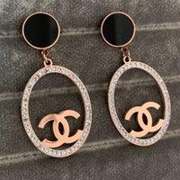 ingrosso orecchini in diamante nero in acciaio inox-L'alta qualità grande lettera diamante grande ovale orecchini di goccia 316L in oro 18k in acciaio rosa nero donne all'ingrosso fabbrica ciondola matrimonio