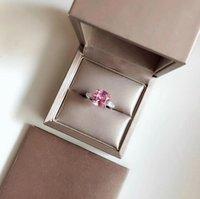 joyas de plata esterlina rosa anillo al por mayor-Top diseñador de joyas Anillo de bodas mujer S925 plata esterlina rosa anillo de diamantes joyas para mujeres banquete Accesorios de fiesta