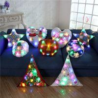 hafif yastık led toptan satış-LED Işık Işık Yastık Kapakları Minder Kapak Noel NOEL Noel Baba Ren Geyiği Yastık Kılıfı Kanepe Araba Dekorasyon EEA241