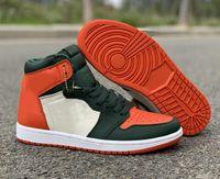 sapatos de arte homens venda por atacado-Nova Moda 1 Branco Laranja Verde Homem Patente Designer de Sapatos de Basquete Personalizado I Alta OG Solefly Art Basel Miami Esportes Sneakers Com Caixa