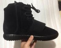 светящиеся баскетбольные ботинки оптовых-Boost 750 Светло-серый Gum Glow коричневый черный Kanye West Shoes 750 Boost Баскетбольная обувь Спортивные кожаные ботильоны Kanye West