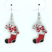 joyas de anzuelo al por mayor-Pendiente de 10 pares, ENAMELO Rojo Calcetines de Navidad PENDIENTES Plata Antigua Alambre de Oreja de Anzuelo 42 x 16mm Araña Joyería DIY