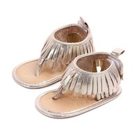 детские сандалии для новорожденных оптовых-Summer Baby Girls Sandals PU Tassel Newborn Baby Shoes Sandals Beach Shoes Non-slip Rubber