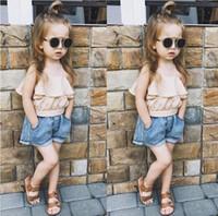 baby girl tops jeans toptan satış-Sıcak moda stil çocuk giyim takım elbise bluz şort eğlence giyim bebek kız çocuk bahar pamuk en kot toptan fiyat S19JS002