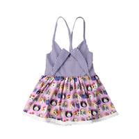 lindos vestidos de fiesta morados al por mayor-Niños bebés niñas playa linda princesa vestido gato patrón púrpura fiesta concurso Tutu Sundress trajes ropa