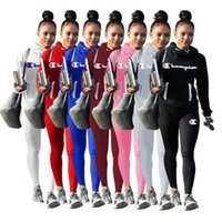 yaka sweatshirt sporlar toptan satış-Şampiyonu Mektuplar Kadın Eşofman Yığın Yaka Hoodies ve Pantolon Tayt 2 Parça Kıyafetler Tişörtü Bodysuit Bahar Güz Spor Takım Elbise C8102