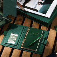 leder spirale notebook cover großhandel-Luxus Vintage A5 A6 Loose Leaf Leder Notebook Tägliche Memos Planer Spiralblock Und Zeitschriften Agenda Cover Geburtstagsgeschenk