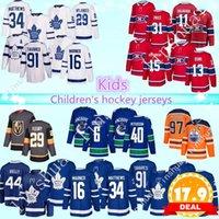 детский кленовый лист джерси оптовых-Детский хоккейный трикотаж Торонто Мейпл Лифс Монреаль Канадиенс Ванкувер Кэнакс Эдмонтон Ойлерз 97 Connor McDavid kids хоккейные майки