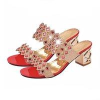 zapatos de diamantes sexy al por mayor-Sandalias de diamantes de imitación de tacón alto de cuero Sandalias de diamantes de primavera y verano para mujer Zapatos de punta abierta sexy más el tamaño 41 Zapatillas15