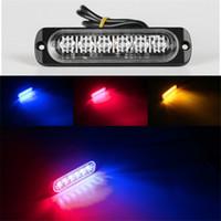 sarı sarı ışık led toptan satış-Araba Styling Parlak Beyaz Sarı Kırmızı Mavi Amber 6 LED Araba Kamyon Van Beacon Strobe Acil Izgarası Polis Işığı Uyarı Yanıp 4.7