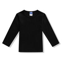 maillot blanc à manches longues achat en gros de-T-shirt basique noir pour garçon, fille de base, garçon, noir Sous-chemise blanche pour enfants Vêtements 2 3 4 6 8 10 ans