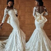 Wholesale bows button dress images resale online - Plus Size African Nigerian Wedding Bridal Dresses With Back Bow Beading Long Sleeves Mermaid Engagement Dresses Wedding Dresses