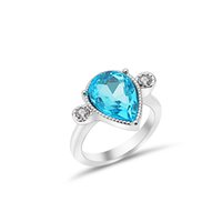 Wholesale cubic zirconia wedding rings online - Stylish Personality Ring Set With Blue Water Droplets Ring For Ladies Use Jewelry Wedding Party Occasions