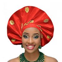 Wholesale agate wrap resale online - 2018 african headtie head wraps auto aso oke gele nigerian headtie headwear asobi african turban headband