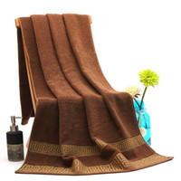 Wholesale women weave online - Jacquard Weave Bath Towel Women And Men Washcloth Home Hotel Facecloth White Brown Cotton Hot Sales sm C1
