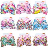 Wholesale fashion flower girl bows hair for sale - Group buy 8 inches lady girl Hairbands Big Bow Rainbow Colorful Headwear Hairpin Fashion Kid Hair Accessories barrettes styles