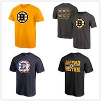 teamlogos t-shirts großhandel-Boston Bruins T-Shirts Heben Sie die Banner Tri-Blend Schwarz Kurzarmhemd Männer Hockey Fans Tops Tees Gedruckt Team Brand Logos 2019 Playoffs