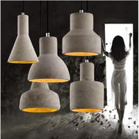 wechselt weinlese großhandel-Vintage Art Deco Zement Gravierte hängende Pendelleuchte 220v E27 LED Licht mit Schalter Beleuchtung für Restaurant Wohnzimmer