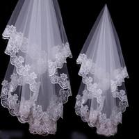 velo 1.5m al por mayor-Apliques de encaje blanco Velos de novia voile de mariee Accesorio para bodas de una capa de 1,5 m sin peine de noiva longo