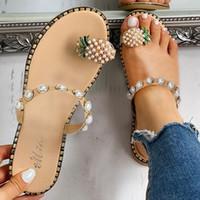 chanclas estilo playa al por mayor-Chanclas de mujer Chanclas Niñas Perlas planas Estilo bohemio Sandalias casuales Zapatillas de playa Zapatos de playa de verano Pisos de moda