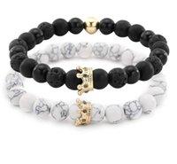 weiße metallarmbänder großhandel-Lava Rock / Weiß Türkis Armband Krone 7 Chakra Energie Perlen Armbänder Liebhaber Bunte Metall Strass Stränge Schmuck Zubehör