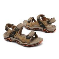 ingrosso sandali in pelle casual traspirante maschile-AUAU Men Sandali Moda Estate Scarpe casual in vera pelle stile classico sandali maschili scarpe da uomo traspiranti per gli uomini # 195250