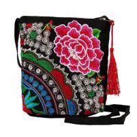 bolsa de bolso kawaii al por mayor-Mujeres étnico hecho a mano bordado floral lienzo monedero de la muñeca del bolso de embrague bolso de la vendimia monedero de la manera monederos kawaii 1.8