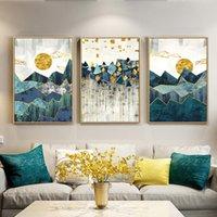 parede da paisagem posteres venda por atacado-Nórdico Abstrato Geométrico Montanha Paisagem Pintura Da Lona de Arte de Parede Arte Sol Dourado Cartaz Impressão Imagem de Parede para Sala de estar