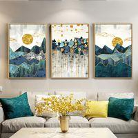 peyzaj duvar posterleri toptan satış-İskandinav Soyut Geometrik Dağ Manzara Duvar Sanatı Tuval Boyama Altın Güneş Sanat Poster Baskı Duvar Oturma Odası için Resim