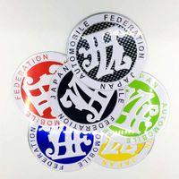 ingrosso fibra di carbonio jdm-JAF Badge Emblem Metal 3D Personality creatività adesivi per auto 9cm JDM Front Grill Badge in fibra di carbonio Look Car Styling