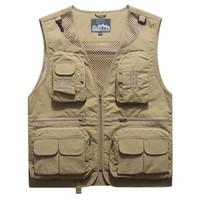 bolsos outdoor verão colete venda por atacado-Verão ao ar livre Vest Diretor Jacket Fotógrafos roupas casuais Tactical Vest respirável multi bolso Estilo Fisherman malha Vest