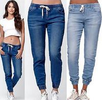 ingrosso pantaloni capris cappuccio-Jeans da donna a tinta unita con coulisse Jeans larghi alla moda Capris Femme Abbigliamento Bloom Pants Abbigliamento casual rilassato
